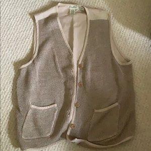 Eddie Bauer oversized linen and knit vest